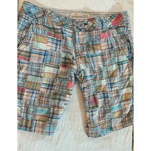 Aeropostale Patchwork Plaid Bermuda Shorts Sz 5/6
